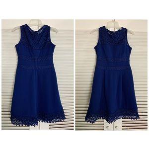 6P Ralph Lauren Blue secretary cut out lace dress